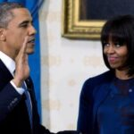 First Lady Michelle Obama wears American Designer Reed Krakoff